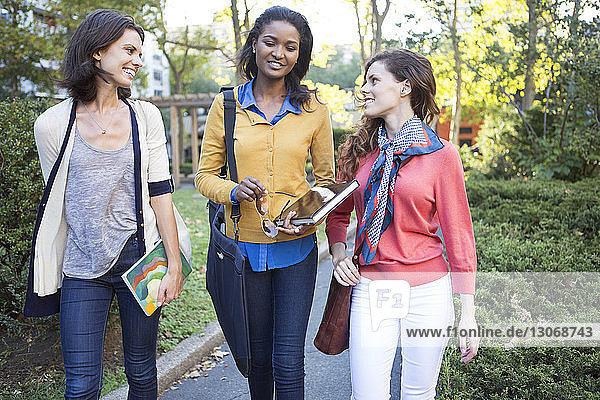Freunde unterhalten sich beim Gehen auf der Straße im Park