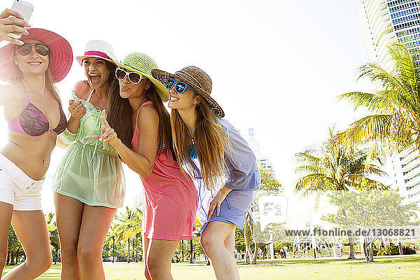 Women taking selfie while standing at park against clear sky