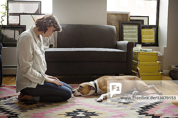 Woman looking at dog lying on carpet