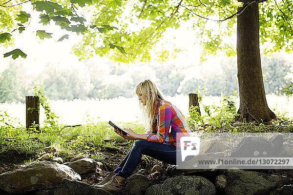 Seitenansicht einer Frau  die auf dem Feld sitzend ein Buch liest