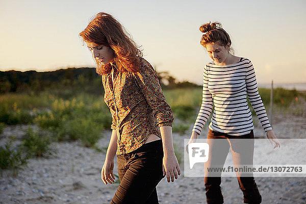 Freundinnen  die beim Strandspaziergang auf Sand herabschauen