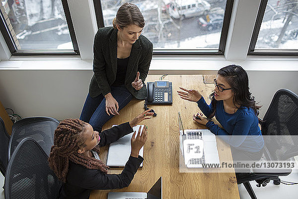 High angle view of businesswomen in meeting