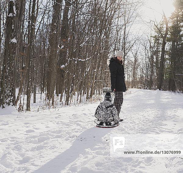 Mutter zieht Schlitten mit Sohn auf verschneitem Feld gegen kahle Bäume