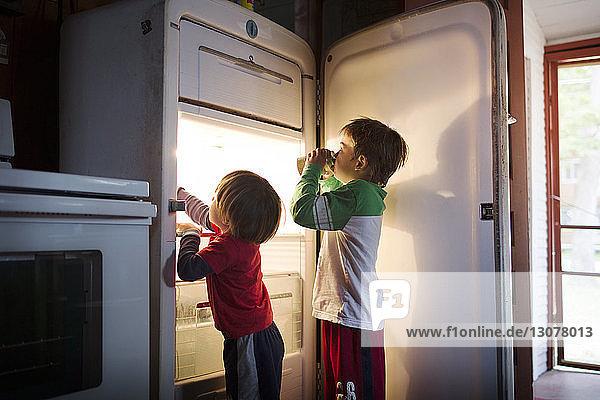 Boys taking food from fridge