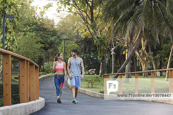 Smiling couple talking and walking on road at park