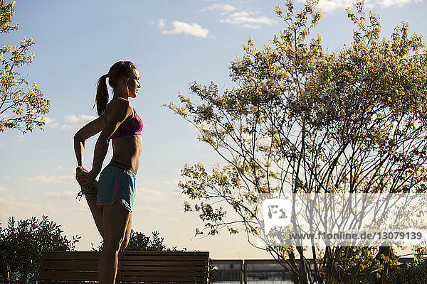 Woman stretching while standing by plants at park against sky