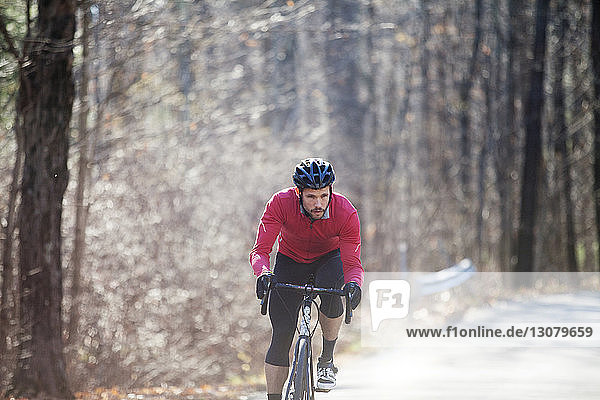 Male cyclist riding bicycle on road in forest