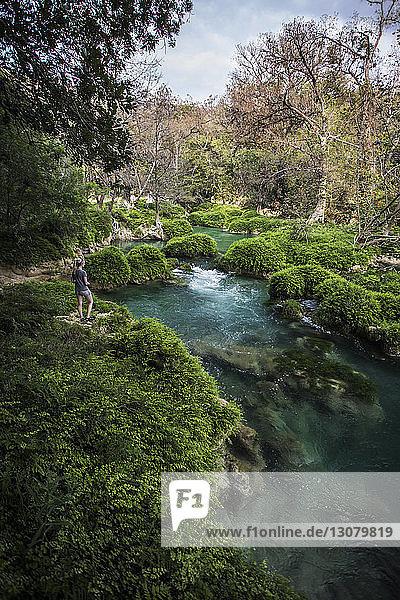 Rückansicht einer Frau  die am Fluss auf einem Grasfeld im Wald steht