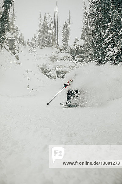 Mann fährt Ski auf schneebedecktem Feld im Wald
