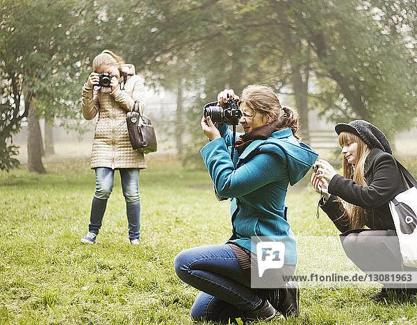 Freunde fotografieren auf Grasfeld im Park