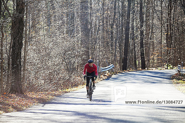 Cyclist riding bicycle on road in forest