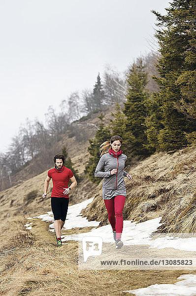 Sportler  die im Winter in den Bergen laufen