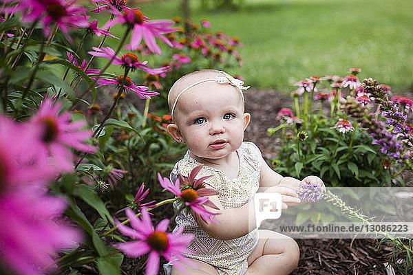 Hochwinkelporträt eines süßen Mädchens  das im Garten inmitten von Pflanzen sitzt