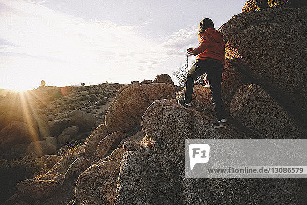 Rear view of boy climbing on rock formations at Joshua Tree National Park during sunset