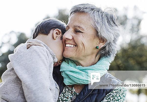 Glückliche ältere Frau trägt Enkel im Park