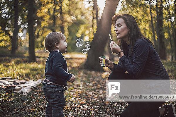 Mutter und Sohn spielen im Herbst im Park mit Seifenblasen