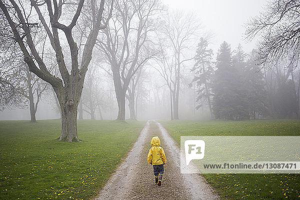 Rückansicht eines Jungen im Regenmantel  der auf einem Feldweg im Wald läuft