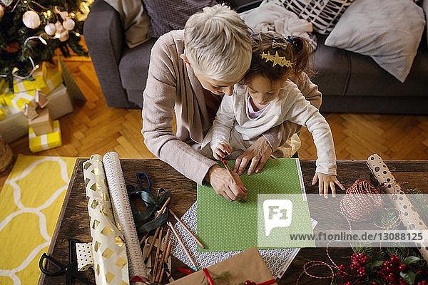 Draufsicht auf die Zeichnung von Großmutter und Enkelin auf Papier zu Hause