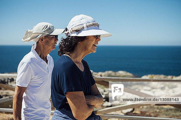 Älteres Ehepaar schaut aufs Meer  während es an der Reling gegen den klaren Himmel steht