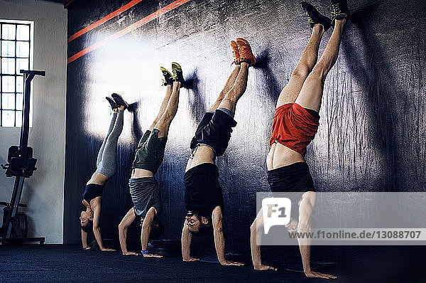 Determined athletes doing handstands in gym