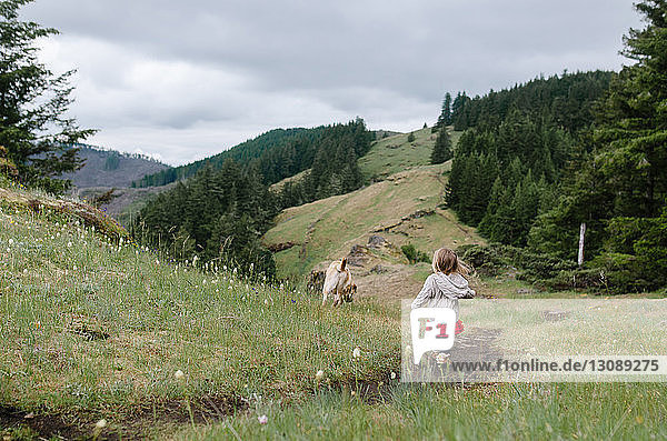 Rear view of girl walking on grassy field with dog against hills