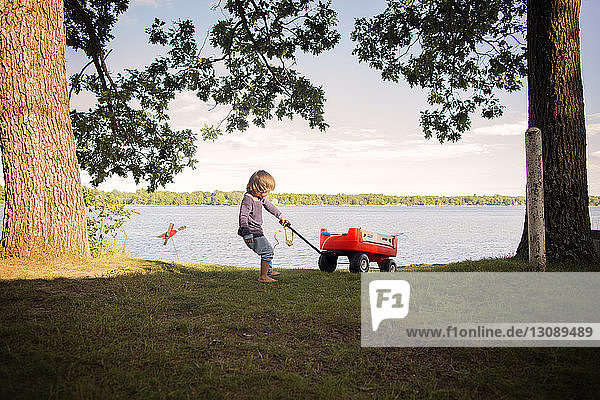 Boy playing by lake with red wagon
