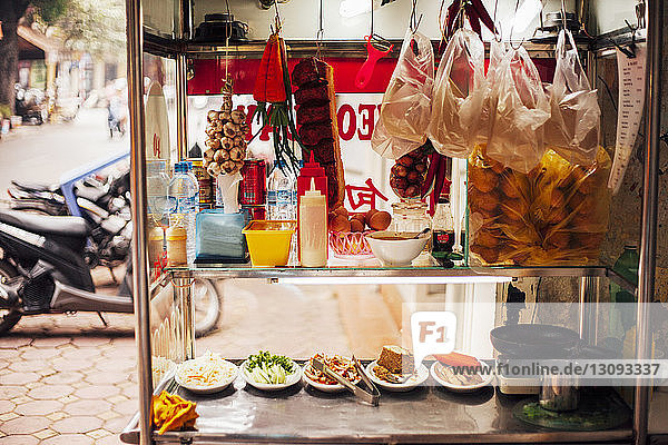 Food stall on footpath at market