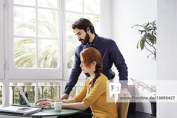 Kreative Menschen arbeiten am Laptop gegen Fenster im Büro