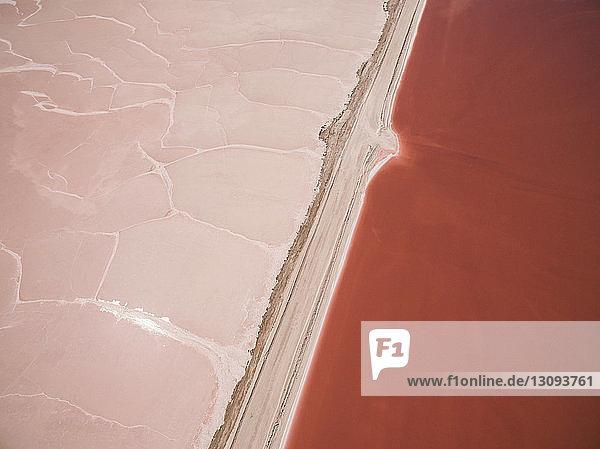 High angle view of salt flats