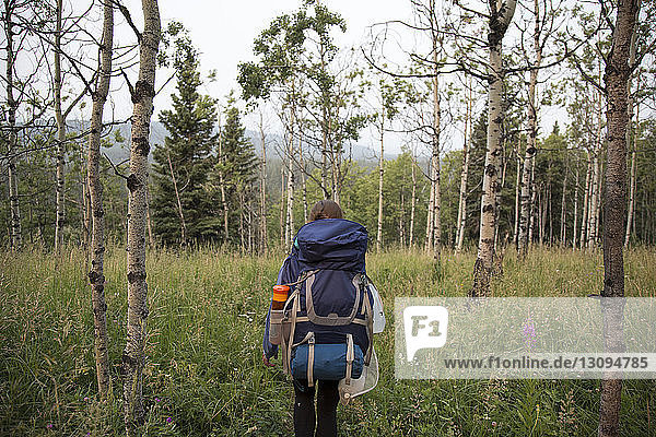 Rückansicht einer Frau mit Rucksack  die auf dem Feld gegen den Himmel steht