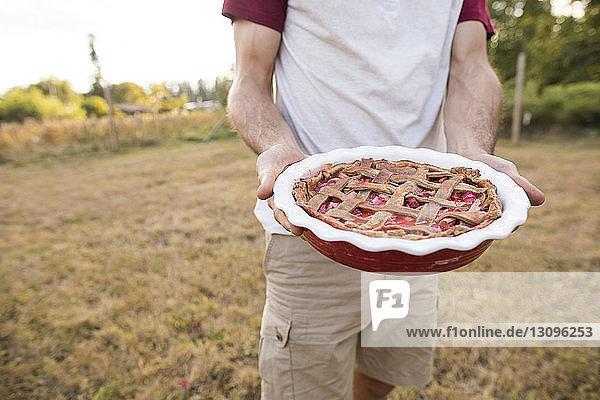 Ein Mann hält in der Mitte einen süßen Kuchen  während er auf dem Feld steht Ein Mann hält in der Mitte einen süßen Kuchen, während er auf dem Feld steht