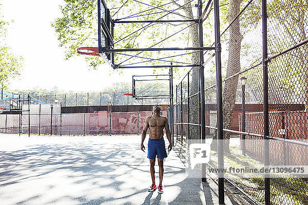 Man looking up while standing in basket ball court