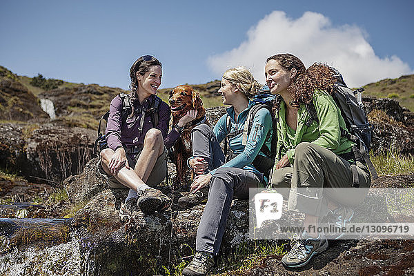 Happy female hikers talking while sitting with dog on hill