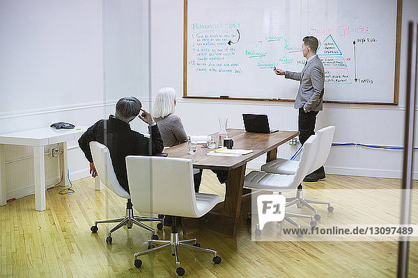 Businessman giving presentation to colleagues in board room at office seen through glass