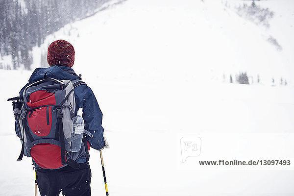 Wanderer schaut auf Berg