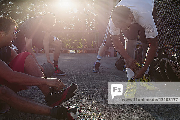 Players preparing for basketball match