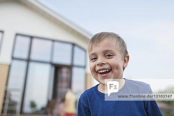 Portrait cute boy laughing