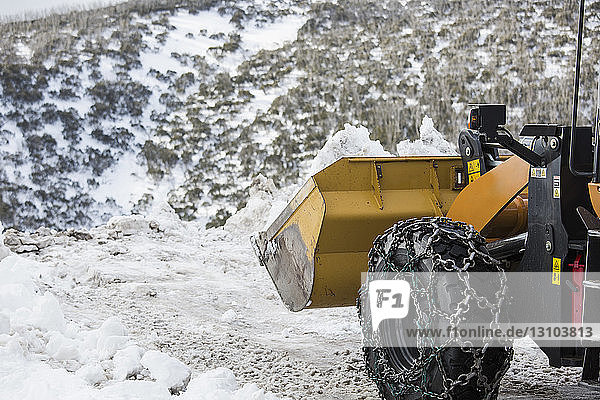 Tractor plowing snow at roadside