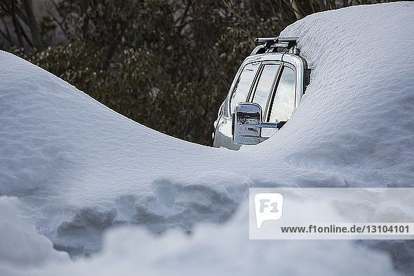 Snow covering parked car