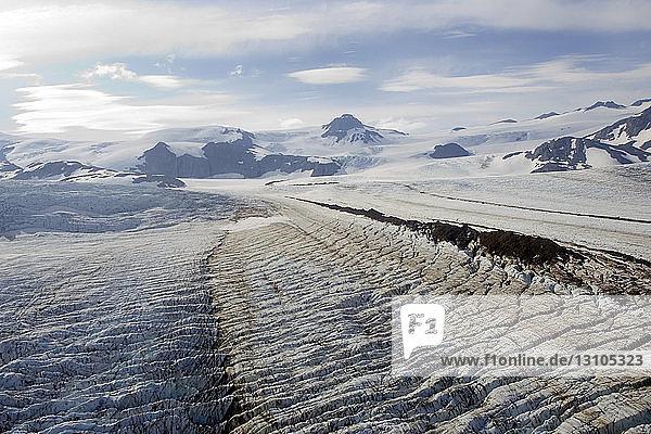 Aerial View Over Fourpeaked Glacier In Katmai National Park  Alaska