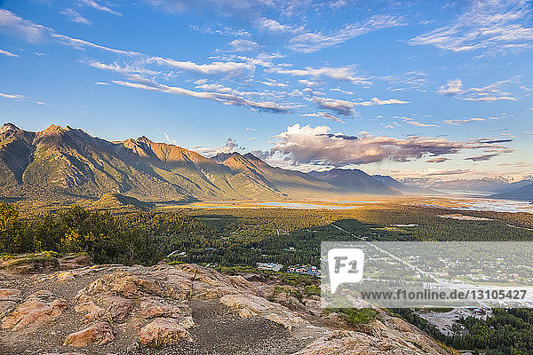 View from the top of the Butte of Matanuska Peak and the Knik River in the background  South-central Alaska; Palmer  Alaska  United States of America