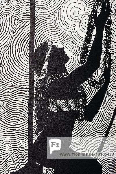 C.1930 Don Blanding Art  Hawaiian Woman Offering Lei To The Gods.