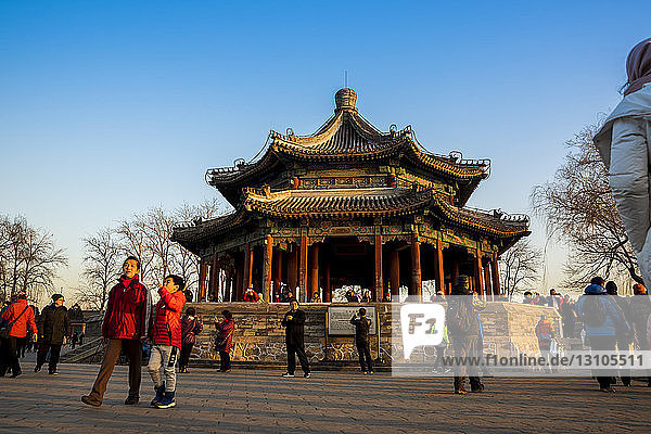Pavilion near the 17 Arch Bridge  The Summer Palace; Beijing  China