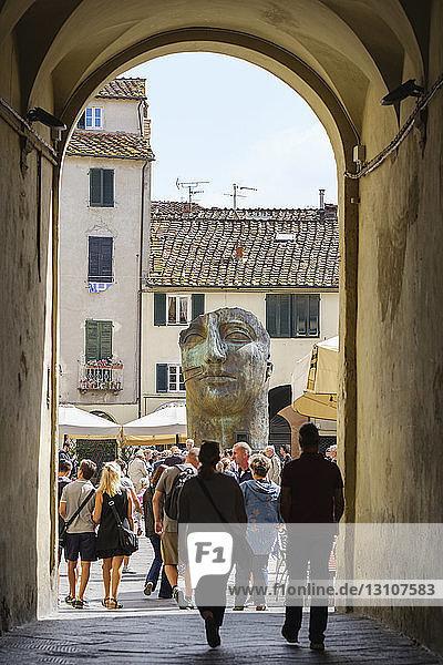 Piazza Anfiteatro Romano; Lucca  Tuscany  Italy