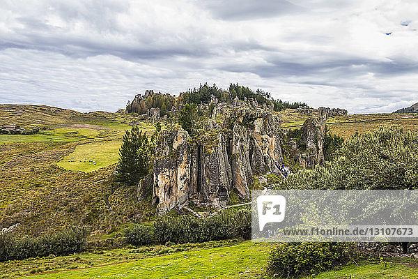 Los Frailones  massive volcanic pillars at Cumbemayo; Cajamarca  Peru