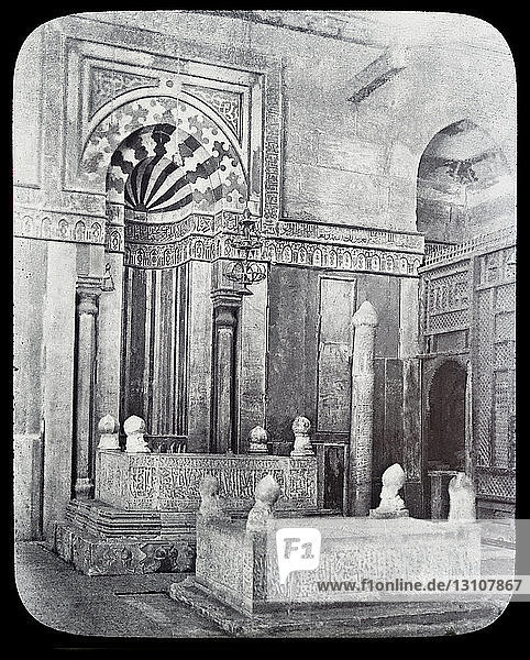 Magic lantern slide circa 1900.Victorian/Edwardian.Social History.Mausoleum of Sultan Al Zaher Barquq and sons at the complex of Al Nasr Farag Ibn Barquq complex located at the city of the dead  Cairo  Egypt