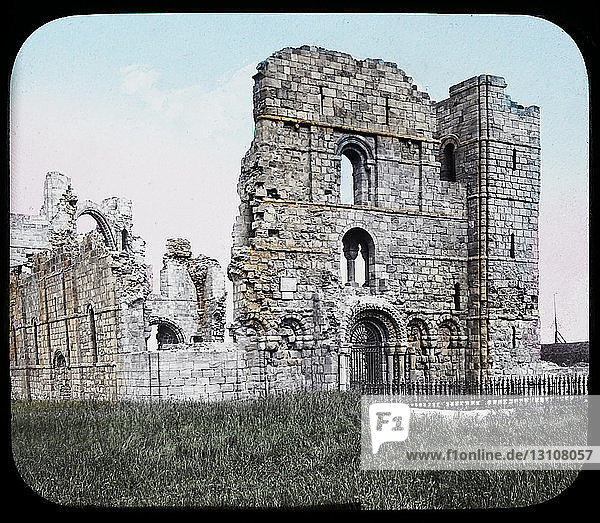 A magic lantern slide circa 1900. Religious slides . Lindisfarne Priory Holy Island from the north west