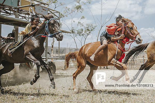 Seitenansicht von Jockeys auf Rennpferden bei Pferderennen