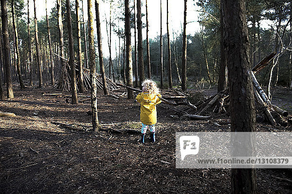 Rear view of playful girl carrying stick in forest