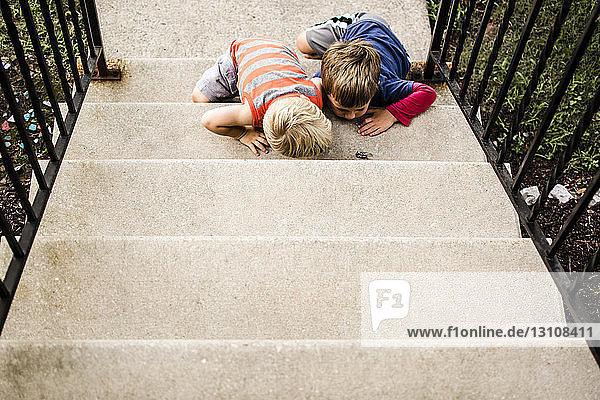 Hochwinkelansicht von neugierigen Brüdern  die auf Stufen sitzend Insekten betrachten
